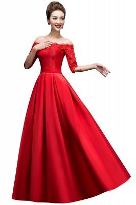 ELLISON | A-line Half Sleeve Floor-length Off-shoulder Appliques Prom Dresses_1