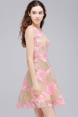 CORDELIA | Princess Knee-length Tulle Homecoming Dress with Pink Lace Appliques_5