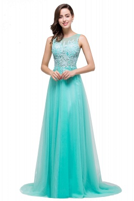 ABRIL | A-line Court Train Tulle Evening Dress with Appliques_13