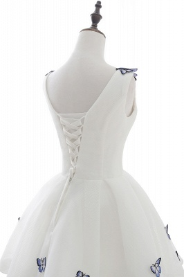 Custom Made A-line Cute White Short Homecoming Dresses With Butterfly_5