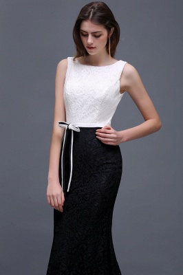 BAILEY | Sheath Scoop Floor-Length Lace White And Black Prom Dresses_5