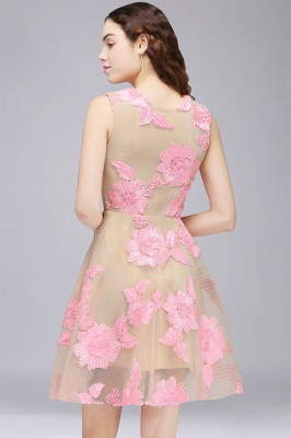 CORDELIA | Princess Knee-length Tulle Homecoming Dress with Pink Lace Appliques_3