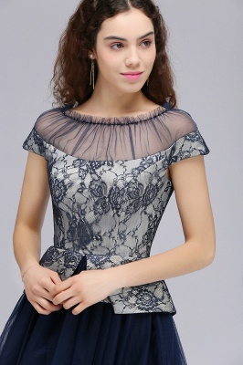 BRIDGET | A-Line Round Neck Knee-Length Tulle Lace Dark Navy Homecoming Dresses_4
