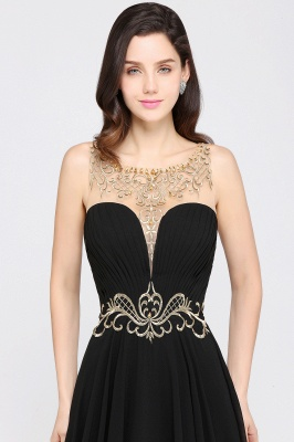AVA | A-line Scoop Chiffon Prom Dress With Lace_4