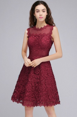 BRIA | A-Line Round Neck Short Burgundy Lace Homecoming Dresses_4