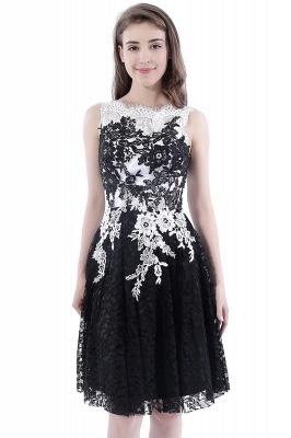 DAHLIA | Short Sheath Sleeveless Black Lace Prom Dresses_9