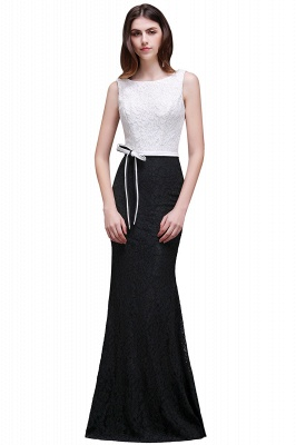 BAILEY | Sheath Scoop Floor-Length Lace White And Black Prom Dresses_1