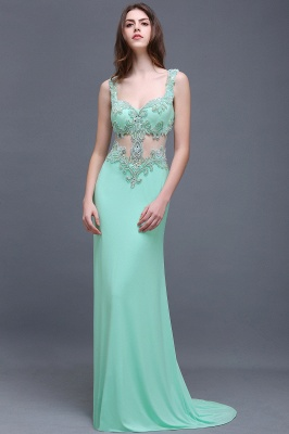 BARBARA | Sheath Straps Floor-Length Mint Green Prom Dresses With Pearls_5