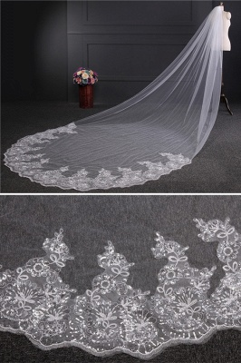 Cathedral Luxury Princess Tulle Lace Sequin Trim Edge 4*1.8M Wedding Gloves with Sequined_3