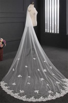 Elegant Lace Applique Edge Wedding Gloves with Appliques_3