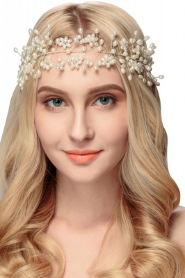 Beautiful Alloy &Imitation Pearls Party Headbands Headpiece with Rhinestone_1