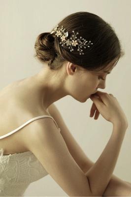Beautiful Alloy&Rhinestone Wedding Combs-Barrettes Headpiece with Imitation Pearls_8