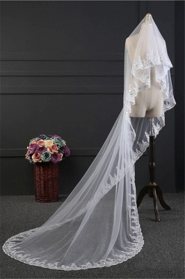 Elegant Tulle Lace Scalloped Edge 3*1.5M Wedding Gloves with Appliques_2