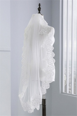Cute Tulle Lace Scalloped Edge 1.5*1.45M Wedding Gloves with Appliques Sequined_4