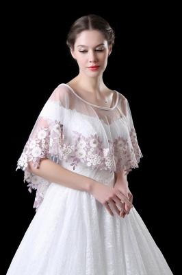 Elegant Tulle /Lace White Sleeveless Wedding Wraps with Appliques