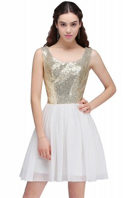 CAROLYN | A-line Scoop Short Sequins White Cute Homecoming Dresses with Sequins_7