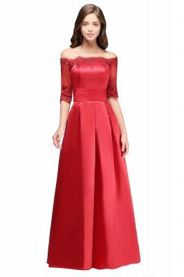 ELLISON | A-line Half Sleeve Floor-length Off-shoulder Appliques Prom Dresses_11