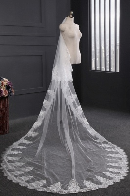 Cathedral Tulle Scalloped Edge 3*1.5M Wedding Gloves with Appliques_3