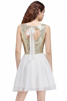 CAROLYN | A-line Scoop Short Sequins White Cute Homecoming Dresses with Sequins_3