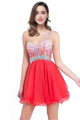 CATALINA | A-line One Shoulder Chiffon Party Dress With  Crystal_4