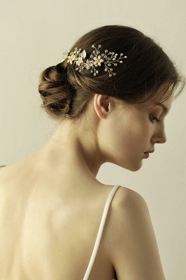 Beautiful Alloy&Rhinestone Wedding Combs-Barrettes Headpiece with Imitation Pearls_6