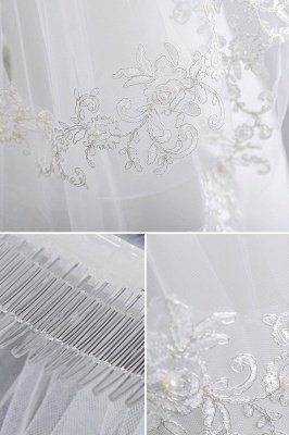 Floral Cute Tulle Lace Cut Edge 1.5*1.1M Wedding Gloves with Appliques Sequined_4