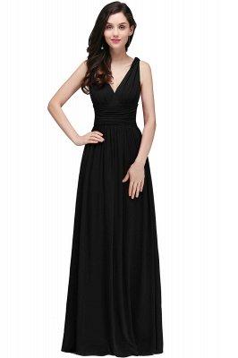 Ruched Chiffon A-line V-Neck Burgundy Evening Dresses_7