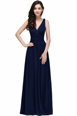 Ruched Chiffon A-line V-Neck Burgundy Evening Dresses_6