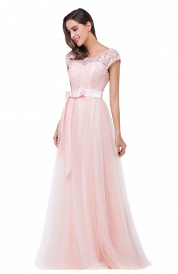 HAILEE | A-line Crew Floor-length Sashes Chiffon Bridesmaid Dresses with Applique_3