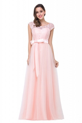 HAILEE | A-line Crew Floor-length Sashes Chiffon Bridesmaid Dresses with Applique_6