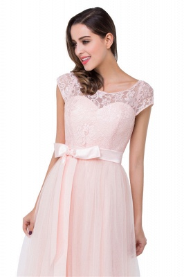 HAILEE | A-line Crew Floor-length Sashes Chiffon Bridesmaid Dresses with Applique_9