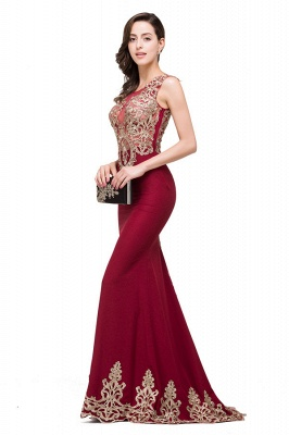 HADASSAH | Mermaid Crew Sweep-length Burgundy Formal Dresses With Applique_5