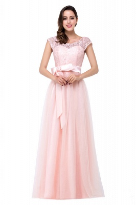 HAILEE | A-line Crew Floor-length Sashes Chiffon Bridesmaid Dresses with Applique_4