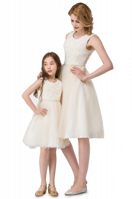 HEIDI| A-line Knee Length Tulle Jewel Sleeveless Lace Mother Daughter Dresses_9