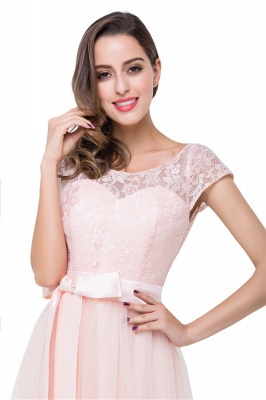 HAILEE | A-line Crew Floor-length Sashes Chiffon Bridesmaid Dresses with Applique_8