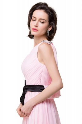 HAILEY | A-line One-shoulder Floor-length Ruffle Pink Chiffon Bridesmaid Dresses With Sashes_3