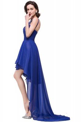 GRACELYN | A-line V-Neck Hi-lo One-shoulder Ruffle Chiffon Blue Prom Dresses With Crystal_3