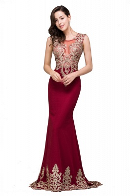 HADASSAH | Mermaid Crew Sweep-length Burgundy Formal Dresses With Applique_1