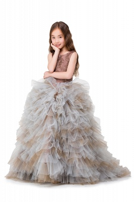 HEAVEN| Ball Gown Court Train Jewel Sleeveless Tulle Embroidery Mother Daughter Dresses_10