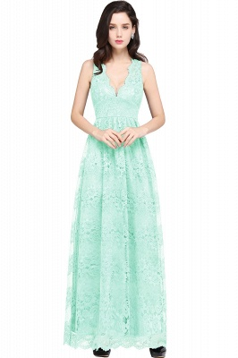 CHAYA | Sheath V-neck Floor-length Lace Navy Blue Prom Dress_9