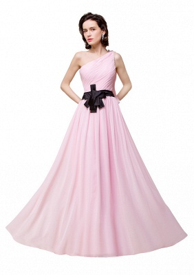 HAILEY | A-line One-shoulder Floor-length Ruffle Pink Chiffon Bridesmaid Dresses With Sashes_4