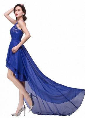 GRACELYN | A-line V-Neck Hi-lo One-shoulder Ruffle Chiffon Blue Prom Dresses With Crystal_4