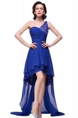 GRACELYN | A-line V-Neck Hi-lo One-shoulder Ruffle Chiffon Blue Prom Dresses With Crystal_1