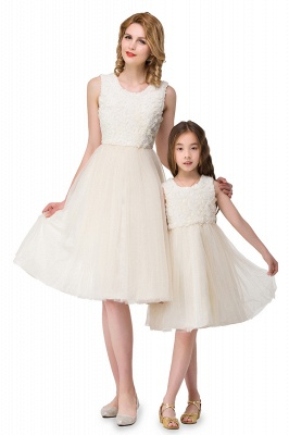 HEIDI| A-line Knee Length Tulle Jewel Sleeveless Lace Mother Daughter Dresses_5