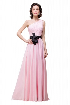 HAILEY | A-line One-shoulder Floor-length Ruffle Pink Chiffon Bridesmaid Dresses With Sashes_7