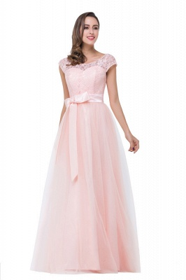 HAILEE | A-line Crew Floor-length Sashes Chiffon Bridesmaid Dresses with Applique_5