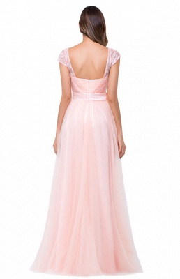 HAILEE | A-line Crew Floor-length Sashes Chiffon Bridesmaid Dresses with Applique_11
