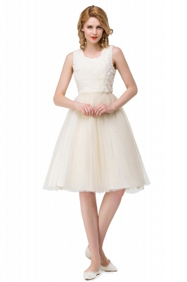 HEIDI| A-line Knee Length Tulle Jewel Sleeveless Lace Mother Daughter Dresses_8