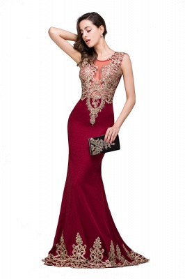 HADASSAH | Mermaid Crew Sweep-length Burgundy Formal Dresses With Applique_6