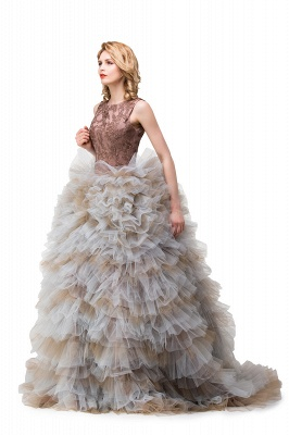 HEAVEN| Ball Gown Court Train Jewel Sleeveless Tulle Embroidery Mother Daughter Dresses_7